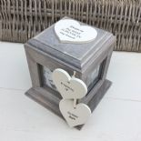 Shabby Chic In Memory Of A Sister Rustic Wood Style Personalised Photo Cube Box - 253967090946